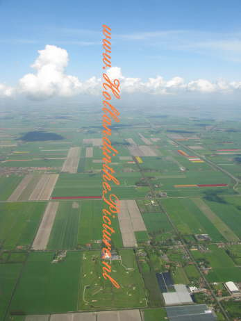 Holland from above with tulip fields